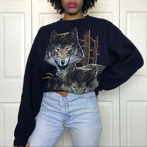 1990's Vintage 3D Wolves Graphic Sweatshirt